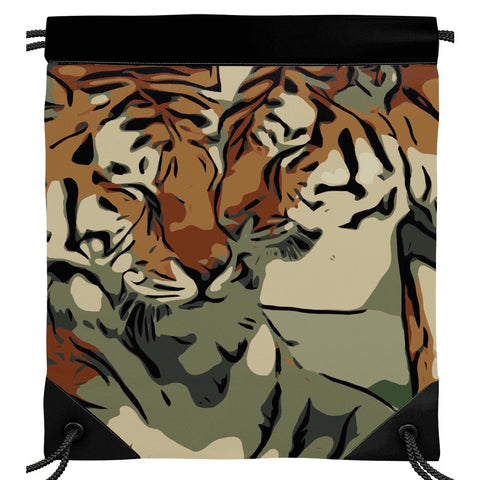 Tigers Showing Affection Drawstring Bag
