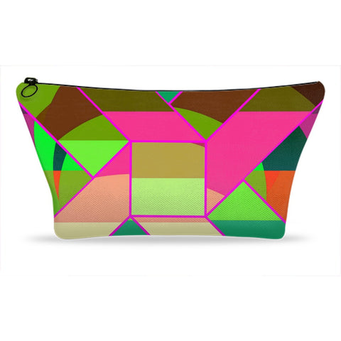 Hot Pink Neon Green Geometric Accessory Pouches