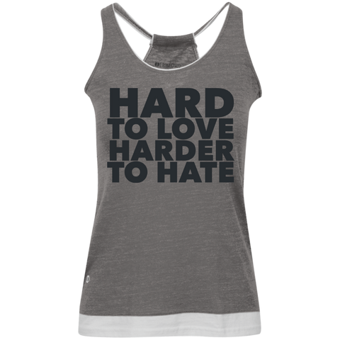 Hard To Love Harder To Hate Juniors' Vintage Heathered Tank - Ocdesignzz  - 1