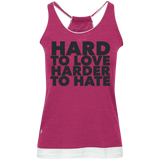 Hard To Love Harder To Hate Juniors' Vintage Heathered Tank - Ocdesignzz  - 5