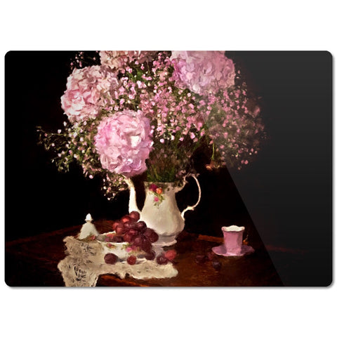 Vintage Flowers And Grapes Glass Cutting Board