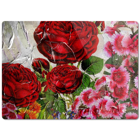 Beautiful Painted Roses Glass Cutting Board