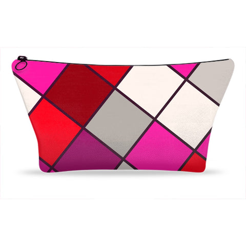 Red Pink Checker Accessory Pouches