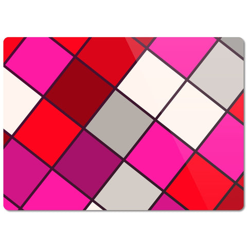 Red Pink Checker Glass Cutting Board