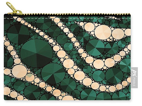 Green Cream Zebra Print Bling  - Carry-All Pouch