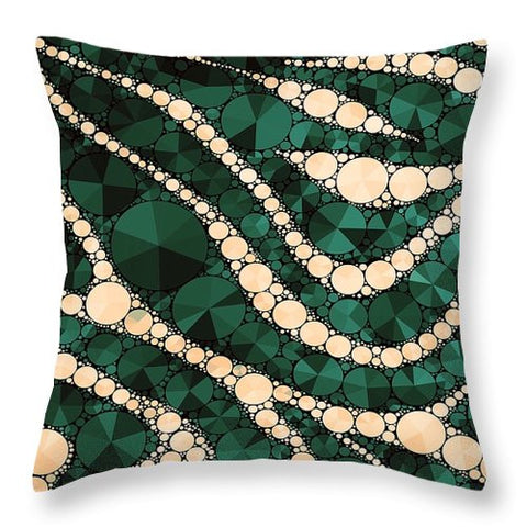 Green Cream Zebra Print Bling  - Throw Pillow