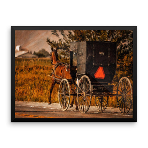 Vintage Amish Horse And Buggy Framed Art