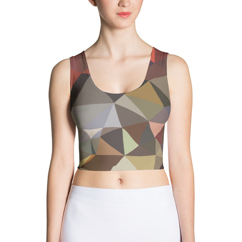 Brown Geometric Pattern Sublimation Cut & Sew Crop Top