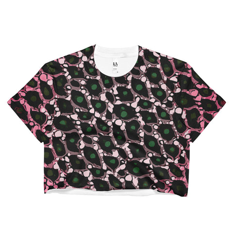 Pink Black Cheetah Print All Over Print Ladies Crop Top
