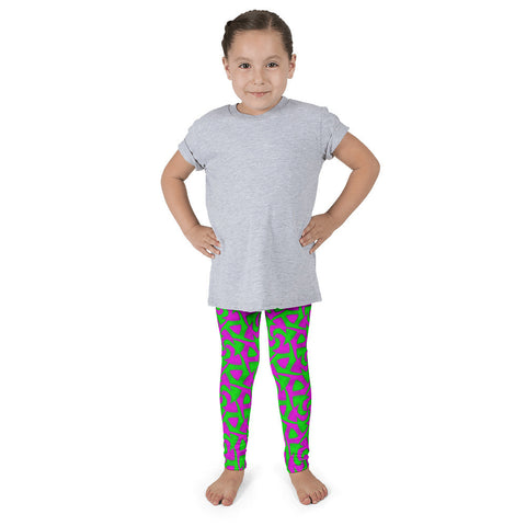 Neon Pink Green Abstract Kid's Pants leggings