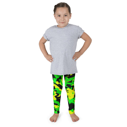 Neon Green Black Confetti Kid's Pants leggings