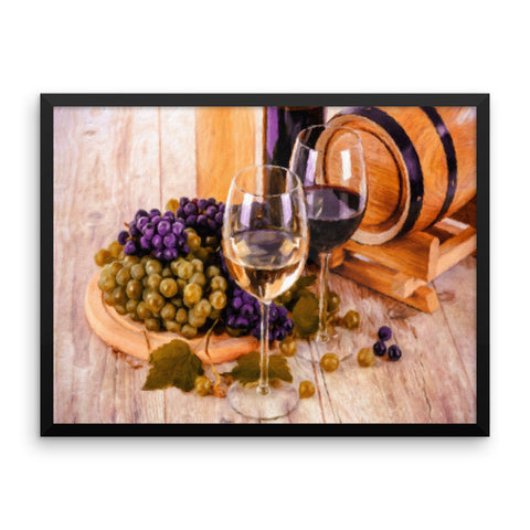 Grapes and Wine Barrel Restaurant Framed Art