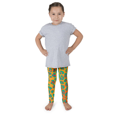Florescent Orange Yellow Leopard Print Kid's Pants leggings