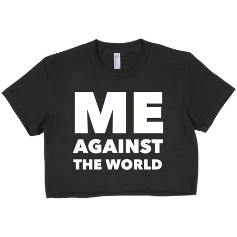 Me Against The World Short sleeve crop top - Ocdesignzz