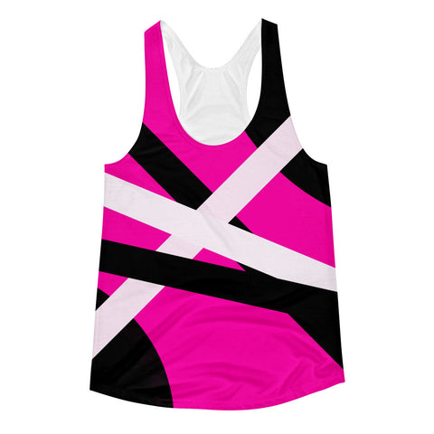 Hot Pink Black White Stripes Women's Racerback Tank