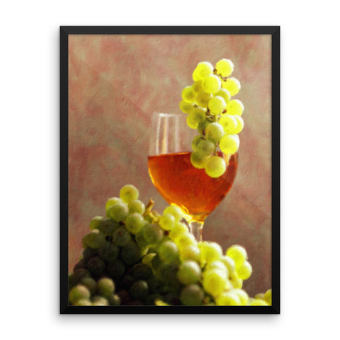 Vintage Grapes And Wine Framed Art