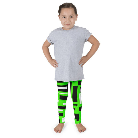 Neon Green Black Geometric Kid's Pants leggings