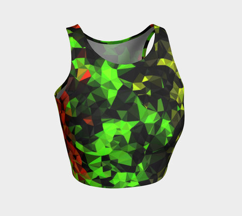 Rasta Geometric Pattern Athletic Crop Tank Top