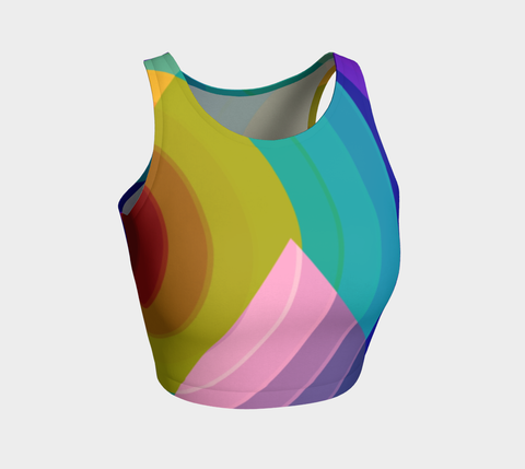Rainbow Geometric Pattern Athletic Crop Tank Top