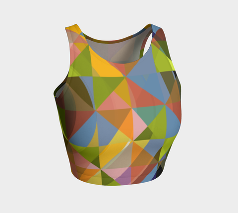 Earth Tone Geometric Athletic Crop Tank Top