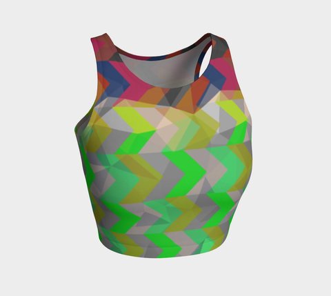 Chevron Geometric Pattern Athletic Crop Tank Top
