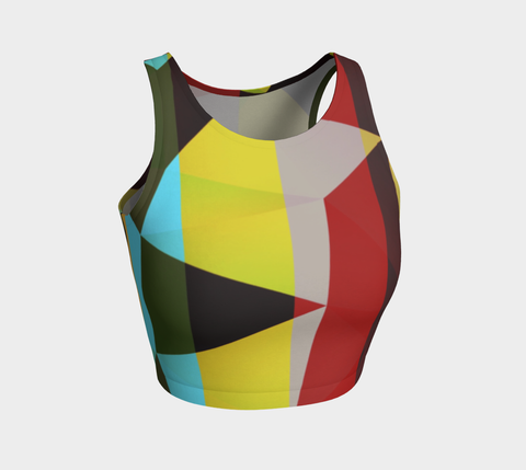 Triangular Geometric Athletic Crop Tank Top