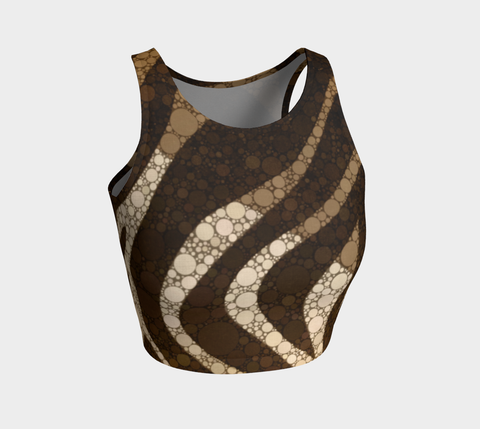 Chocolate Zebra Print Athletic Crop Tank Top
