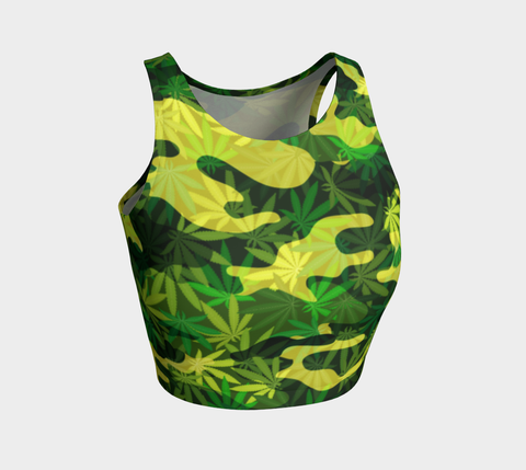 Green Cannabis Camouflage Athletic Crop Tank Top