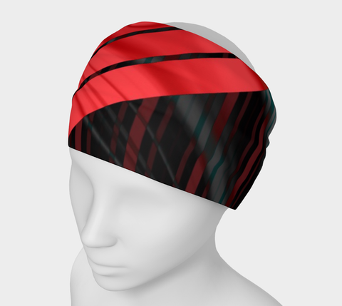 Red Black Silk Geometric Pattern Headband