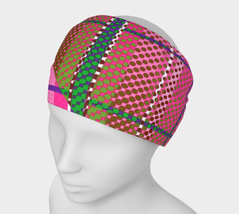 Pink Plaid Geometric Polkadot Headband