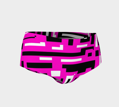 Pink Black Geometric Pattern Women's Mini Shorts