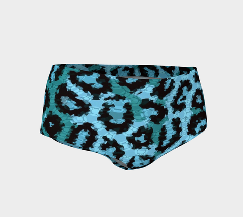 Tourqoise Cheetah Print Women's Mini Shorts