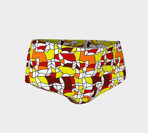 Yellow Orange Geometric Pattern Women's Mini Shorts