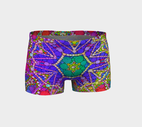 Multi Color Abstract Fitness Shorts - Ocdesignzz  - 1
