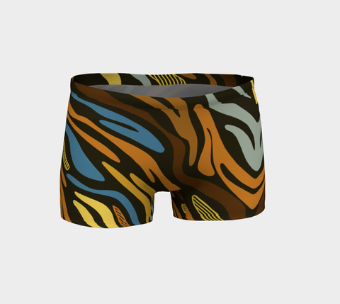 Brown Blue Animal Print Booty Fitness Shorts - Ocdesignzz  - 1