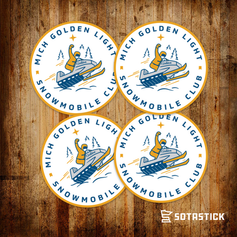 MICH GOLDEN SNOWMOBILE | BEER FRIDGE STICKER 4 PACK