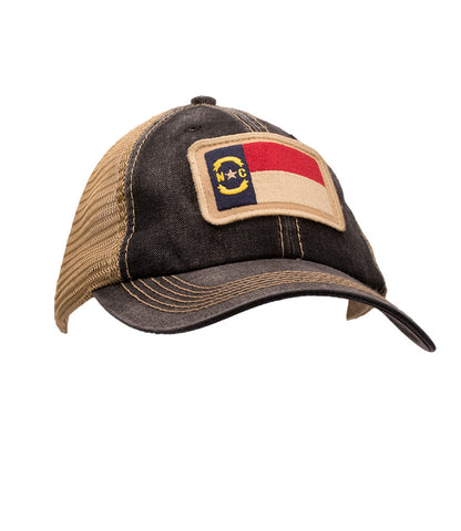 NC Flag Unstructured Trucker Hat Black