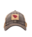 South Carolina State Outline Unstructured Trucker Hat Black