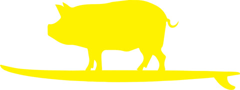 Surf Pig Sticker Yellow