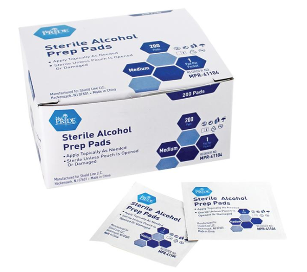 Medpride Sterile Alcohol Prep Pads - Medium or Large - 200/cs.