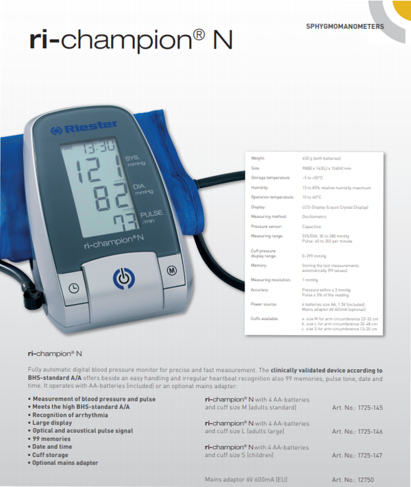 Riester ri-champion® N, Fully Automatic Digital Blood Pressure Monitor