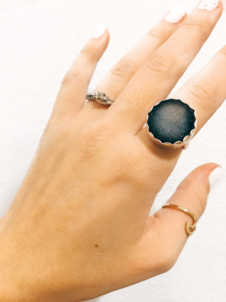 Black druzy ring size 6.5