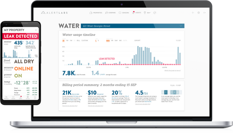 Real time water use platform shows example of leak detection