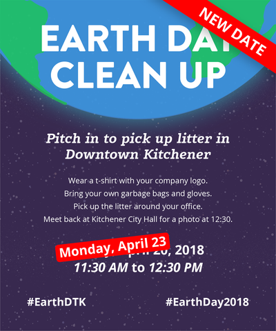 Earth Day Clean Up challenge poster showing new dates as a result of snow