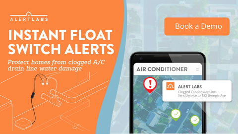 Instant float switch alerts avoid water damage at customer properties