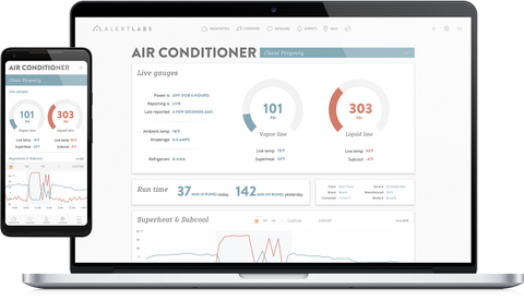 Alert Labs Dashboard shows air conditioner analytics such as liquid and vapor line pressure stats