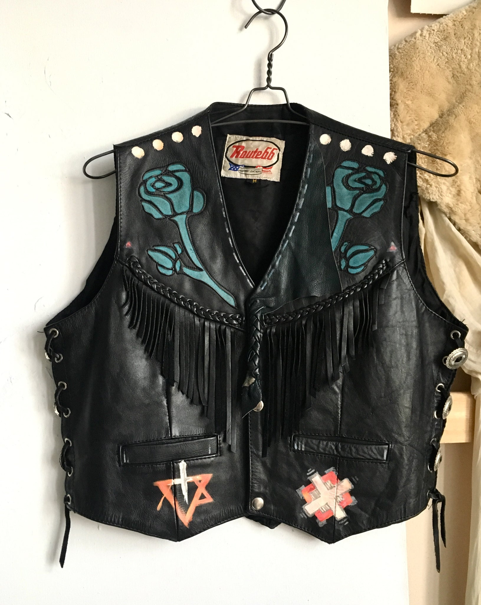 Hand painted fringe vest with roses