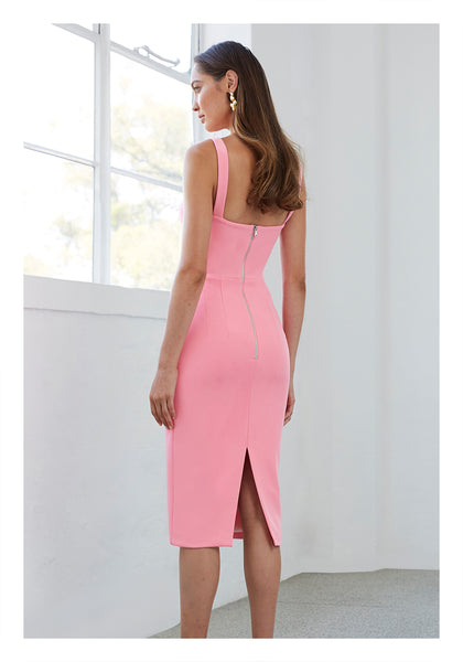 PANELLED BUST MIDI DRESS