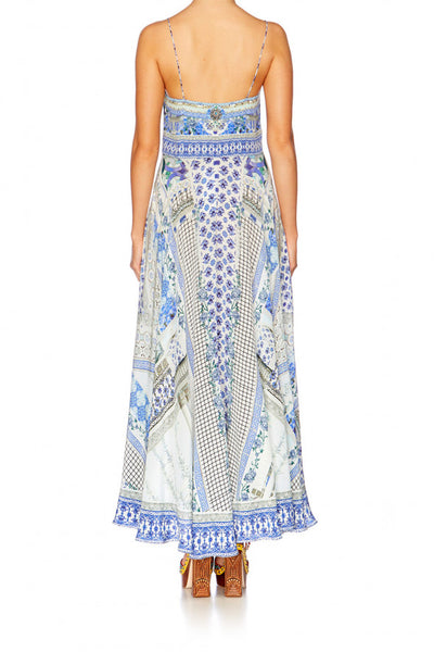 SALVADOR SUMMER LONG DRESS WITH TIE FRONT