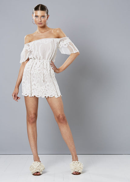 CLOUD NINE SILK OFF THE SHOULDER DRESS WHITE